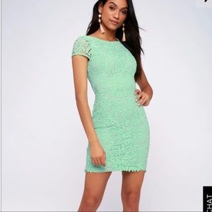 NWT Lulus Lace Bodycon Dress In Mint